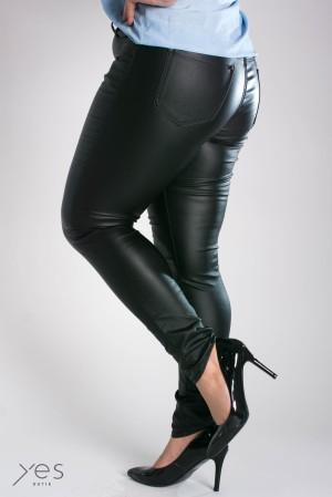 Spodnie woskowane typu Rurki czarne imitujące skórę Plus Size 40 48