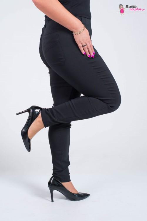 Spodnie w gumkę MIKSA długie wysoki stan czarne Plus Size 42 58