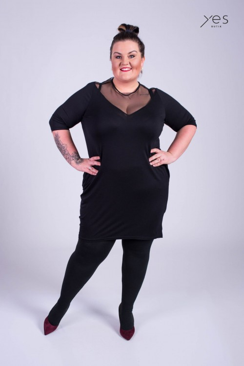 0f9fc254af Sukienka FESTI czarna Plus Size 46 52 Butiknaplus.pl