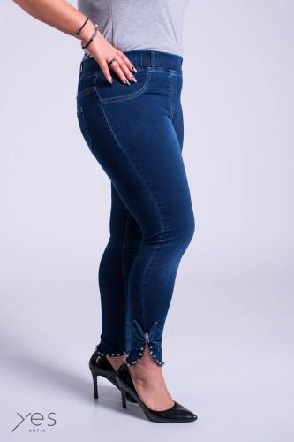 Granatowe Jeansy w gumę LOREN z kokardą Plus Size XL 9XL