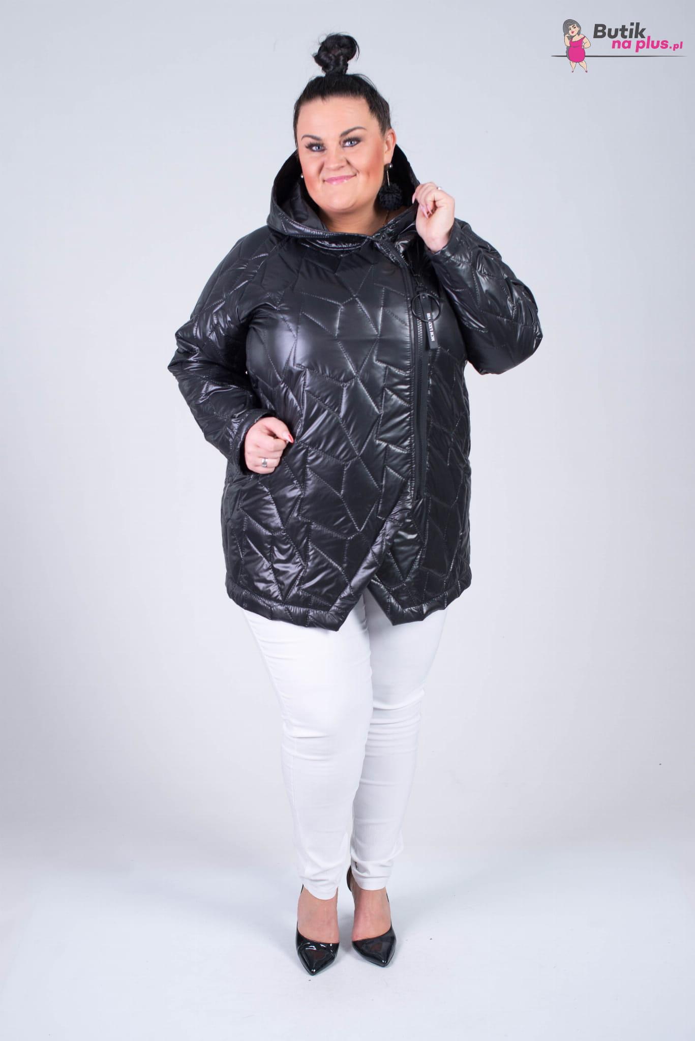 Wiosenna Kurtka z kapturem NENSI czarna Plus Size 44 54